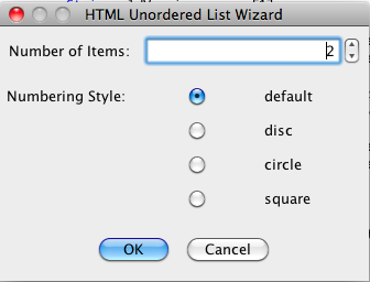 HTML Unordered List Tag Tool