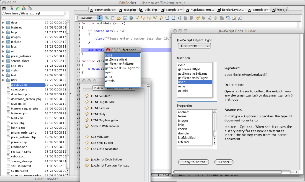 JavaScript Editor and IDE for Mac, Windows, and Linux