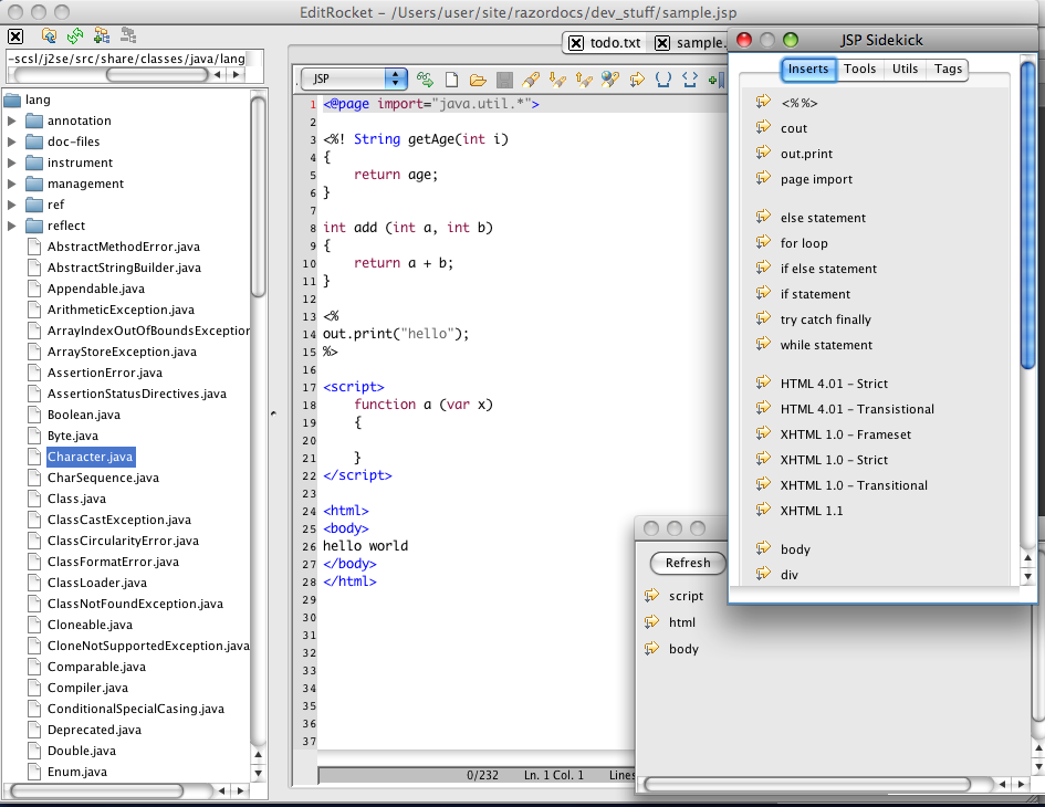 JSP Editor for Mac, Windows, and Linux