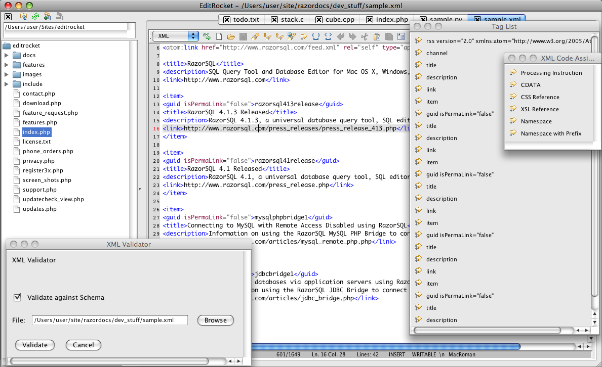XML Editor for Mac, Windows, and Linux
